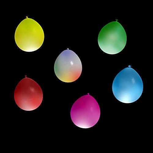 Festive Blow N' Glow LED Balloons – Light Up LED Balloons For Your Party – A Vibrant Colored Party Pack Of 15 Balloons – Perfect For Kid's Parties, Celebrations And To Have FUN! ()