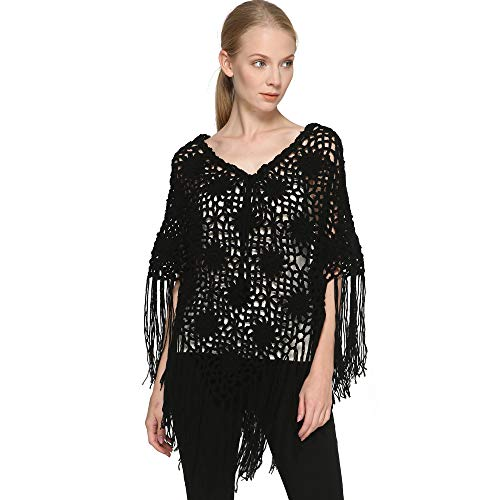 ZORJAR Crochet Fringed Poncho Cape Shawls Wraps Flower Womens Coat Sweater (Black)