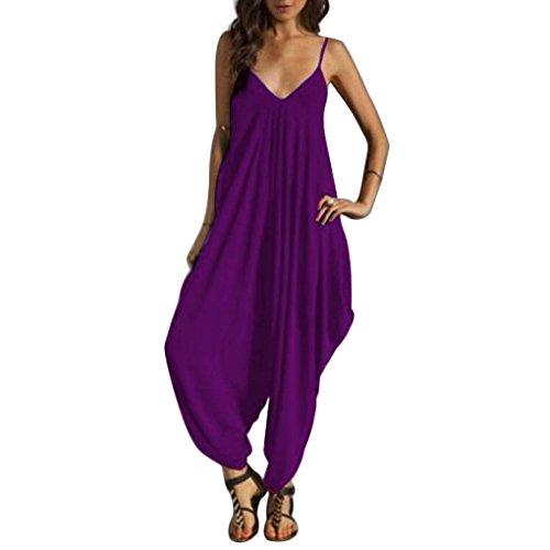 en V Bretelles Vrac irrgulire Neck Masterein Jumpsuit Beach violet Spaghetti Bodysuit Femmes Long O4qZnpX