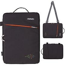 "FOPATI 13 - 13.3 inch Laptop Sleeve Case Vertical Slipcase with Handle & Shoulder Strap Messenger Bag for Macbook Air 13/ iPad Pro / Lenovo HP ASUS Dell Acer Ultrabook Samsung Chromebook 13"" - Black"