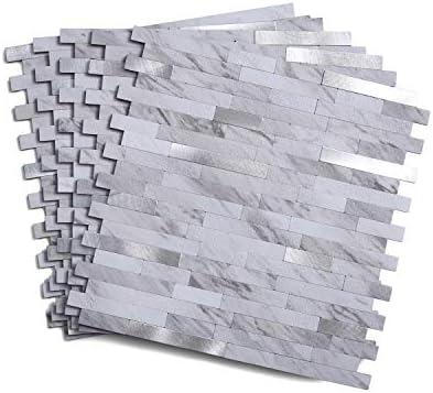 11 5 X 5 86 1 Tile Faux Volakas White Stone Backsplash Peel And Stick Backsplash Tile For