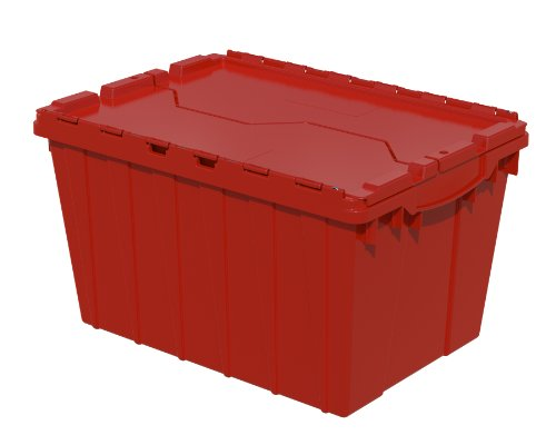 Stack Tote Lids - Akro-Mils 39120 21-1/2-Inch L by 15-Inch by 12-1/2-Inch Attached Lid Container Plastic Storage and Distribution Tote with Hinged Lid, Red, (Pack of 6)