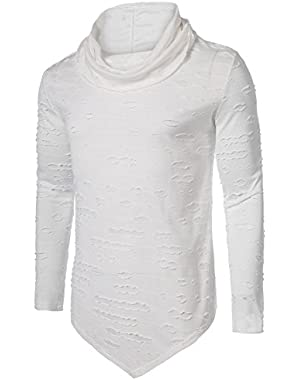 Men's Long Sleeves Cowl Collar Hipster Hip Hop Rock Fashion Casual Pullover T-Shirt