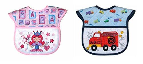 Classic Cross Stitch Baby Bib Gift Kit  Set Of 2 Bibs  Princess Or Truck Pattern  Pink And Blue Set