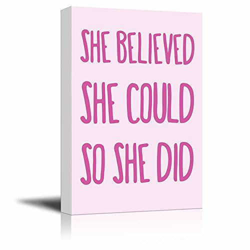 wall26 Hot pink type She Believed She Could So She Did quote on a pastel background - Canvas Art Home Decor - 24x36 inches (Art Discount Canvas)