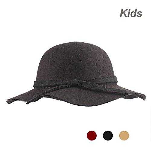 KRATARC Kids Sun Hat Girls Floppy Wide Brim Hat Bow Cap Winter - Old Fedora