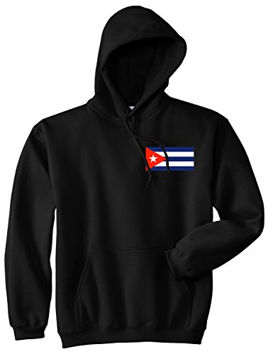 Cuba Flag Country Chest Pullover Hoody Hoodie Small Black