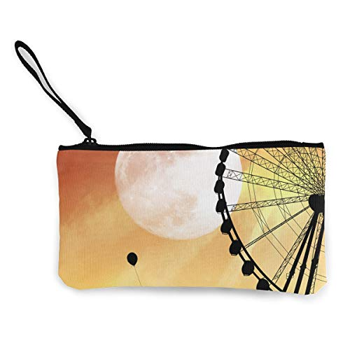 Oomato Canvas Coin Purse Ferris Wheel Yellow Cosmetic Makeup Storage Wallet Clutch Purse Pencil -