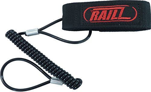(Railz Coiled Steel Core Safety Lanyard for Snow Scooters, Snow Skateboards, Boogie Boards, Snow Boards, Leash, Black-Red)