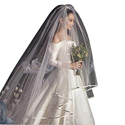 Fenghuavip White Cathedral Wedding Veil 2 Tier for Brides Ribbon Edge Blusher with Comb
