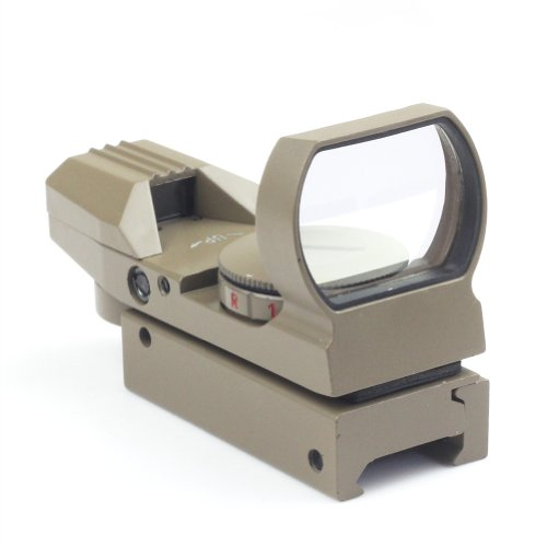 VERY100 Holographic Reflex 4 Reticle Red/Green Dot Sight Scope 21mm Rail Mount (Tan)