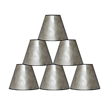 "Urbanest 3x6x5"" Mica Chandelier Lamp Shade, Silver, Set of 6"