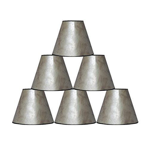 """Urbanest 3x6x5"""" Mica Chandelier Lamp Shade, Silver, Set of 6"""