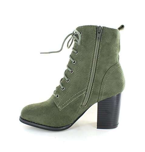 Heels Booties Urban Faux Ankle Suede Olive 08S Women's DAHLIA adwdCq