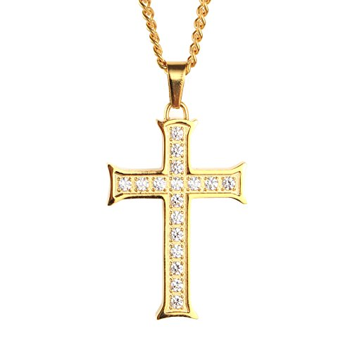 PAURO Men's Stainless Steel Cubic Zirconia Micro Pave Cross Pendant Necklace Gold