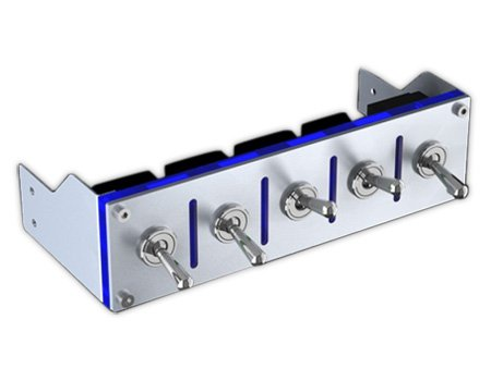 Fan Controller-Hummer 5-port 12V Device on/off Contoller 100W per channel, Silver/Blue by Lamptron (Image #1)