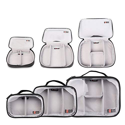 BUBM 3pcs Multi-Functional (S/M/L in One) Electronic Organizer Travel Gadgets Bag for Cables, External Flash Drive, Mouse, Memory Card, Power Bank - Clear