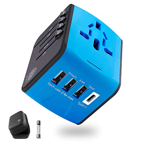 - Universal Travel Adapter, International Power Adapter, European Plug Adapter, USB C Wall Charger, Outlet Power Converter for Cell Phone, Tablet and Laptop in EU UK USA AUS