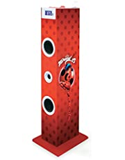 BigBen Interactive TW5MIRACULOUS - Torre Multimedia con diseño Ladybug (Sistema 2.0, 60 W, USB, Tarjeta SD, Radio FM, LED, Mando a Distancia)