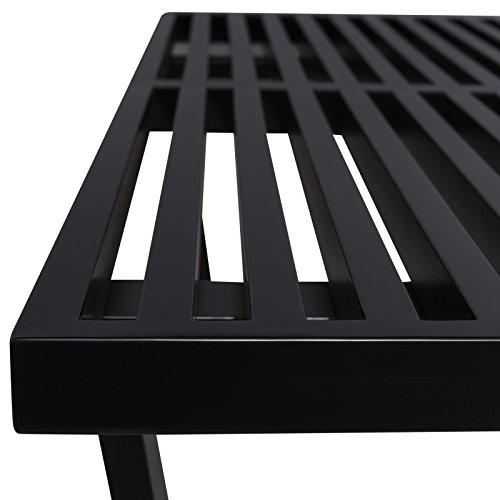 LeisureMod Mid-Century Modern Inwood Platform Wood Bench, 4', Black by LeisureMod (Image #3)