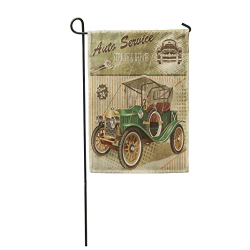 28x40 Inches Print On Two Side Polyester Car Vintage Garage Retro 1910S 1920S 1930S Home Yard Farm Fade Resistant Outdoor House Decor Flag ()