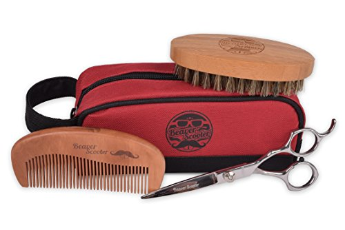 Beaver Scooter Beard and Mustache Grooming Kit – Includes Beard Brush Beard Comb Beard Trimming Scissors and Carrying Pouch
