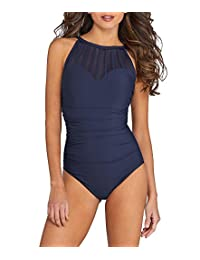 Magicsuit Womens Mesh Inset Underwire Support One-Piece Swimsuit