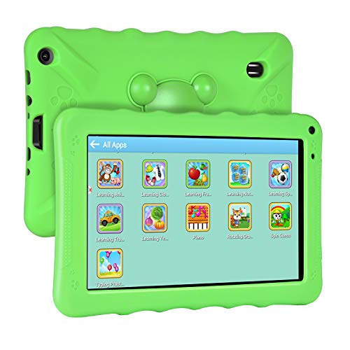 XGODY 9 Inch Kids Tablets Android Tablet Quad Core 1GB RAM 16GB ROM with WiFi IPS HD Display Dual Camera Shockproof Silicon Case for Kids(Green)