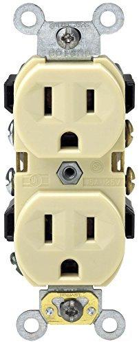 Leviton M91-0BR15-IMP 15 Amp 125V Narrow Body Duplex Outlet Receptacle by Leviton (125v Narrow Body)