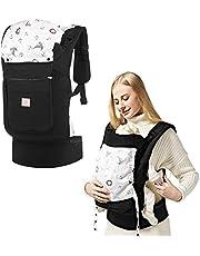 GAGAKU Ergonomische Baumwoll Babytrage Rücken mit Abnehmbarer Kapuze - 3 Tragepositionen (5,5-15 kg, 4-48 monate)