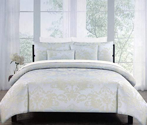 (Tahari 3pc Duvet Cover Set Woven Textured Jacquard Damask Medallion Pattern Tan/Beige on Silver Quilt Comforter Cover 100% Cotton Luxury, Belleville Damask (Full/Queen))