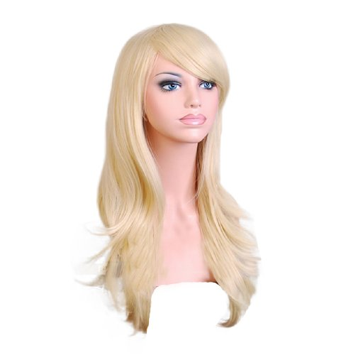 TopWigy Blonde Women Cosplay Wig Long Wavy Hair Heat Resistant Body Wave Curly Costume Anime Party Wig (Light Golden 28
