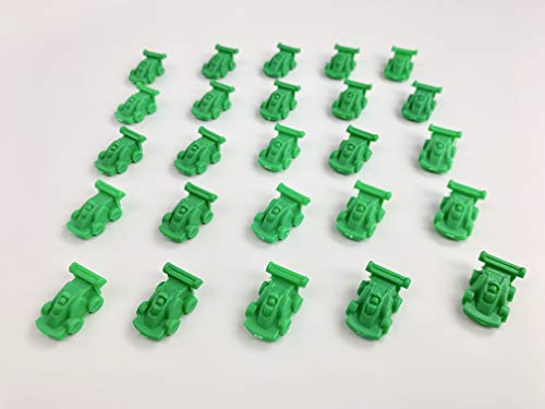 25 Green Race Cars, 21mm or 7/8 inch