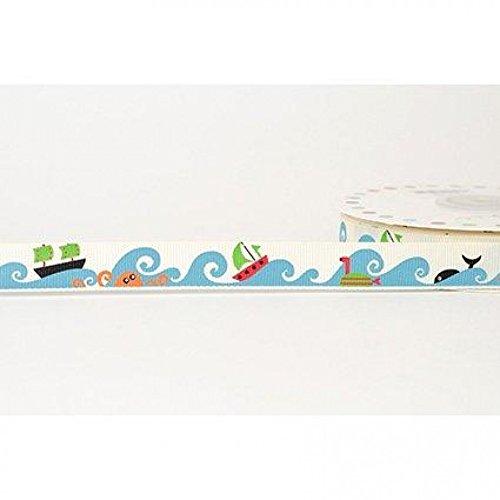 (16mm Reel Chic Sea Life Print Grosgrain Ribbon Antique White - per metre)