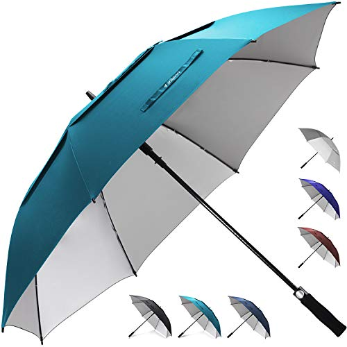 ZEKAR 54/62/68 inch Windproof Large Vented UV Protection and Classic Pongee Fabric Golf Umbrella, Double Canopy Rain and Sun Stick Umbrellas (Windproof 68 Umbrella Inch)