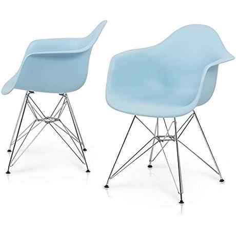 Modern Dining Chair Chromed Steel Frame Durable ABS Plastic Posture Support Backrest Design Innovative Side Chair Set Of 2 Blue 1427