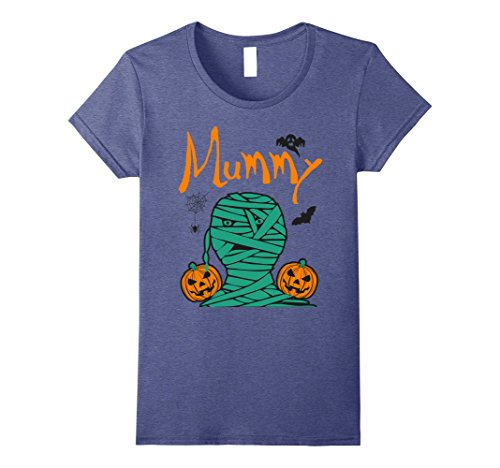 Womens Mummy Deady Unique Halloween Couples T-shirt Large Heather Blue (Unique Halloween Costumes For Couples 2017)