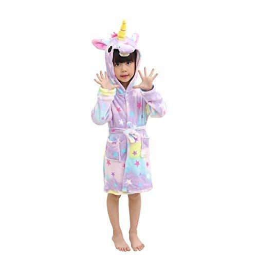 Hanax Kid Bathrobe Unicorn Flannel Ultra Soft Plush Comfy Hooded Nightgown Homewear,Starry Sleepwear,10-11T -
