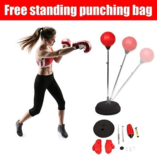 AYNEFY Punching Ball Set Adult Boxing Ball Set Red Free Standing Boxing Punching Ball Adult Boxing Training Set with Boxing Gloves and Stand Adjustable Height 120-150 cm Red