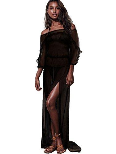 Victorias Secret Cover Up - Victoria's Secret Swim Cover Up Black Off Shoulder Sheer Maxi Dress Size Small