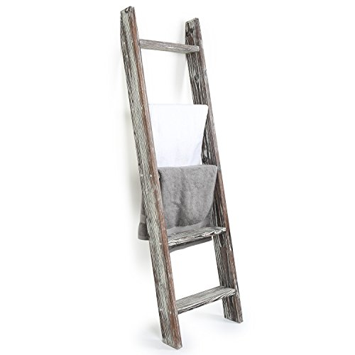MyGift 4.5-Foot Wall-Leaning Ladder-Style Torched Wood Blanket Rack ()