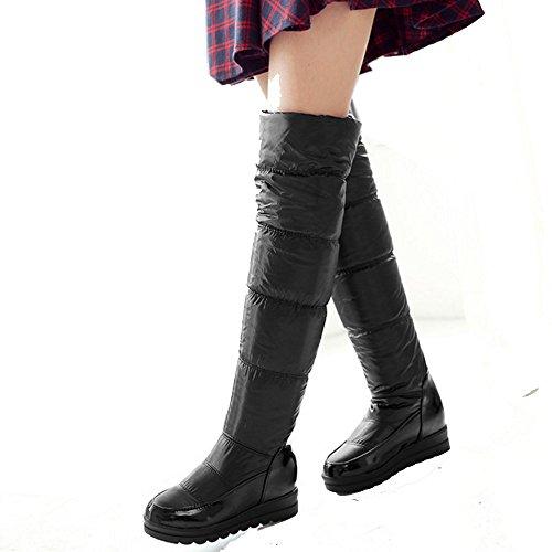 COOLCEPT Damen Winter Keilabsatz Flache Stiefel Warm Gefütterte Langschaft Stiefel Snow Boots Schwarz