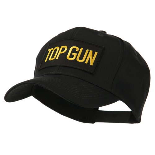 - Military Related Text Embroidered Patch Cap - Top Gun OSFM Black