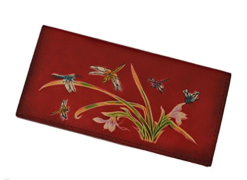 Genuine Leather Checkbook Cover, Dragonflies & Iris Flower Pattern, More Color. (Red) ()