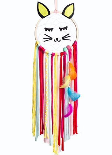 Sonwolf Dream Catchers with Ornament, Beard Cat Dreamcatcher for Kids, 26.8''X 7.1'' Bedroom Wall Hanging Decor, Boho Wind Chimes Home Decoration (Yellow)