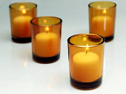 793bdd10d Image Unavailable. Image not available for. Color  Amber Glass Votive  Candle Holders ...