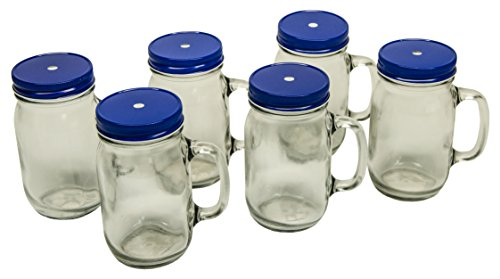 North Mountain Supply Pint Mug Handle Mason Drinking Jars - With Blue Metal Straw Hole Lids - Case of 6
