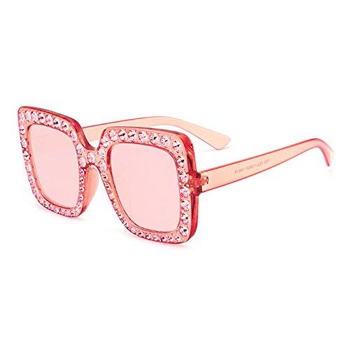 Burenqi Neue Luxusmarke Designer Damen große quadratische Sonnenbrille Frauen Diamond Rahmen Spiegel Sonnenbrille für weibliche Schattierungen, B