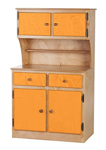 Furniture Barn USA Children's Kitchen Play Hutch -Heartland Collection - Natural and Orange Color Amish Bedroom Hutch