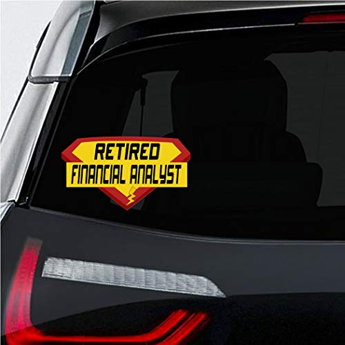 Makoroni - RETIRED FINANCIAL ANALYST Career Car Laptop Wall Sticker Decal - 4'by7'(Small) or 5.5'by10'(Large) (Best Laptop For Financial Analyst)